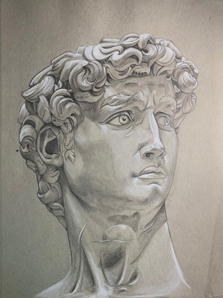 Study Of The Statue David By Michelangelo by Hailee Spoor
