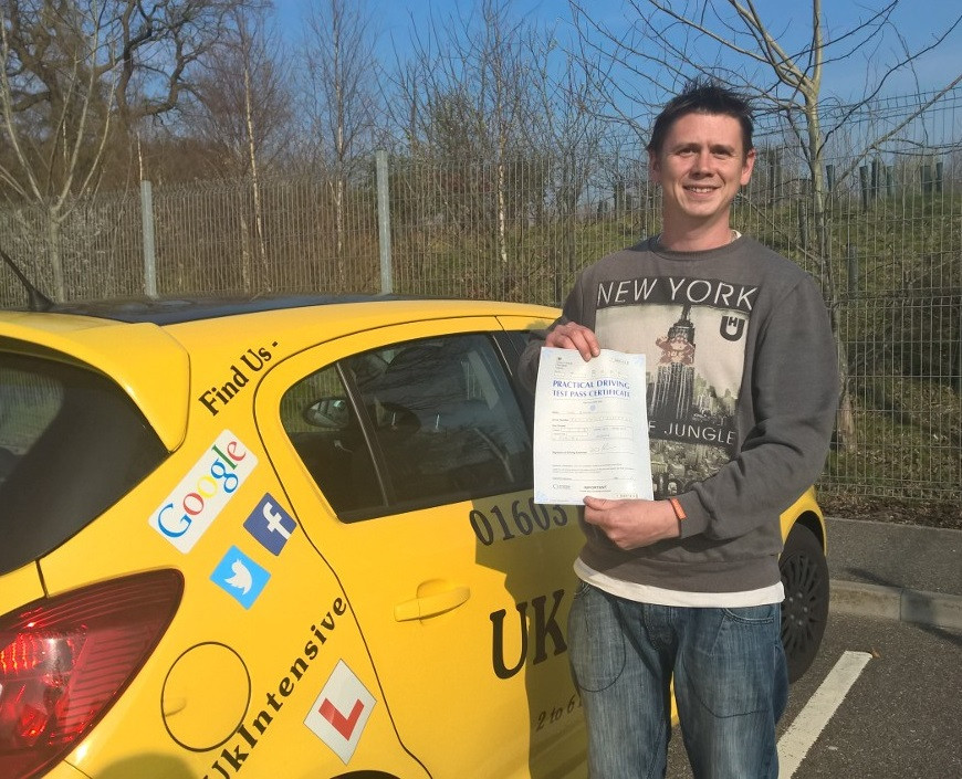 John Beales passed 1 st time with us on a 3 day course. #intensivedrivingcourses #drivingschool #drivinglessons #norwich #learntodrive