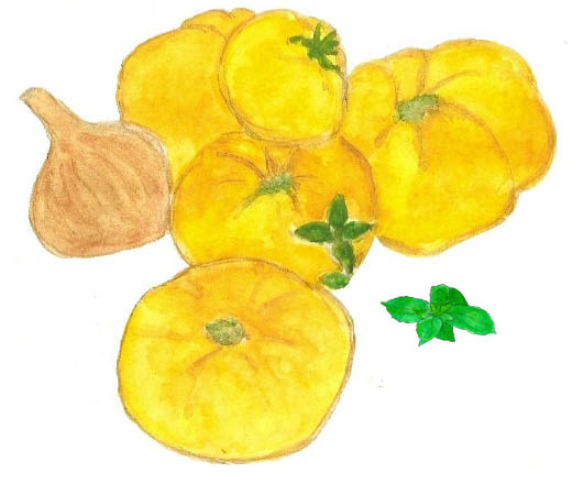Coulis tomates jaunes basilic