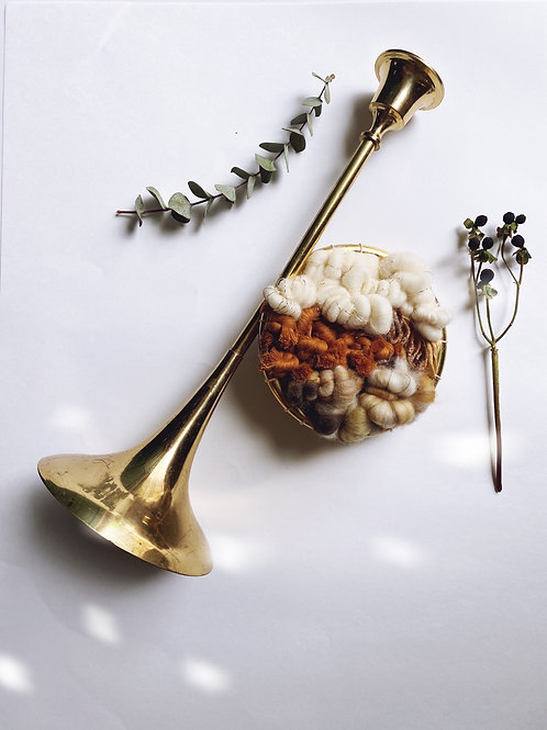 Caramel Drizzle: Woven Fox Hunting Horn Candlestick Holder
