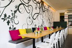 Colorful Banquette Seating...