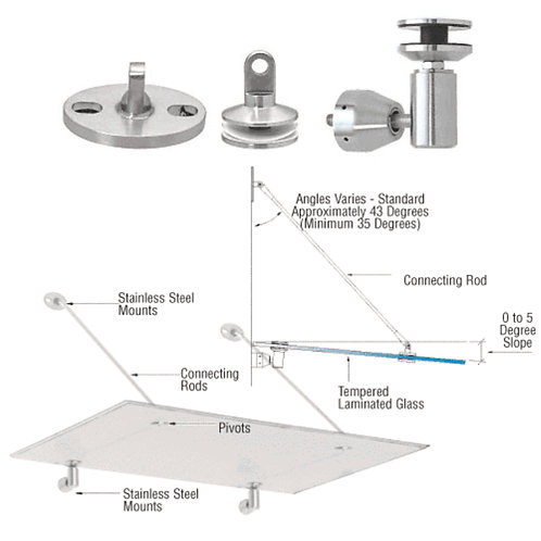 Glass Canopy/Awning Support System Mounting Kit
