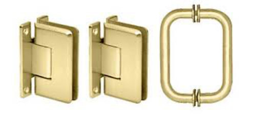 Cologne Shower Door Pull Handle and Hinge Set - BR