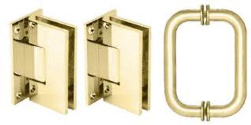 Geneva Shower Door Pull Handle and Hinge Set - BR