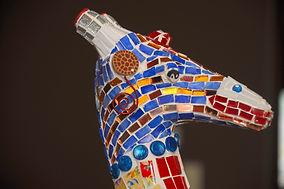 colorful mosaic giraffe animal head