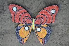 mosaic butterfly mural