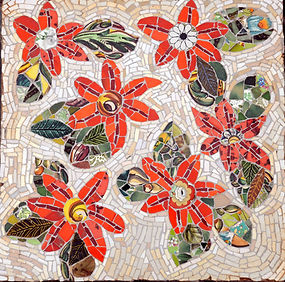 mosaic floral flower stepping stone
