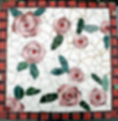 mosaic floral rose stepping stone