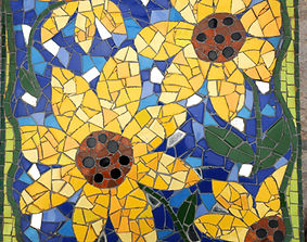mosaic floral sunflower stepping stone