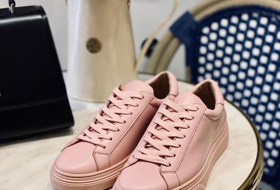 Baskets en cuir rose