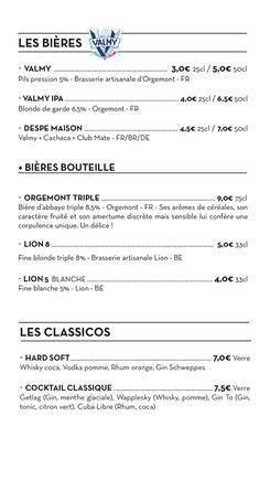 Carte boissons - Le Chapiteau - marseill