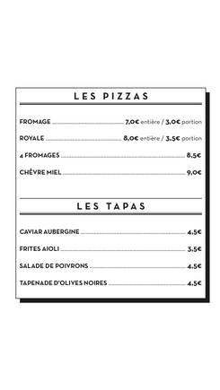 Carte pizzas et tapas - Le Chapiteau