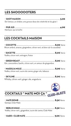Carte boissons - Le Chapiteau -marseille