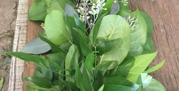 Italian Ruscus, Salal & Seeded Eucalyptus Garland