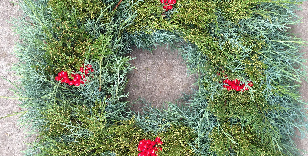 Fresh Mixed Green Wreaths, Square