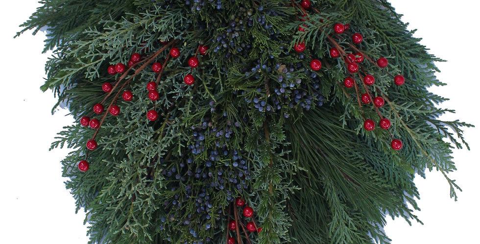 Mixed Greenery & Blueberry Cedar Holiday Door Swag