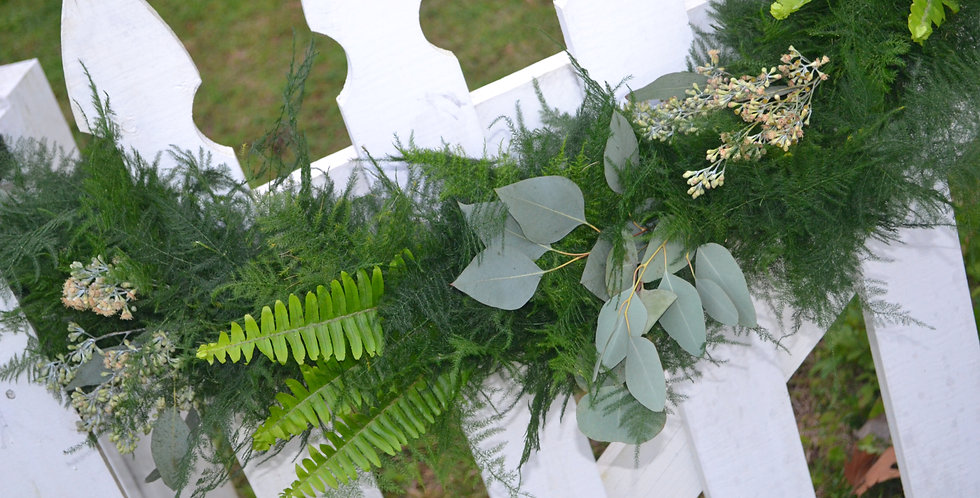 Plumosus with Sword Fern & Seeded & Silver Dollar Eucalyptus