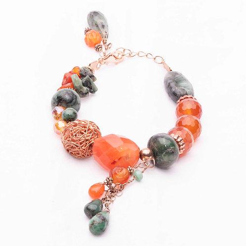 Arabian bracelet. Emerald, Carnelian