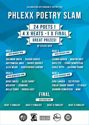 Nottingham Poetry Festival Presents, Phlexx Poetry Slam @Suede