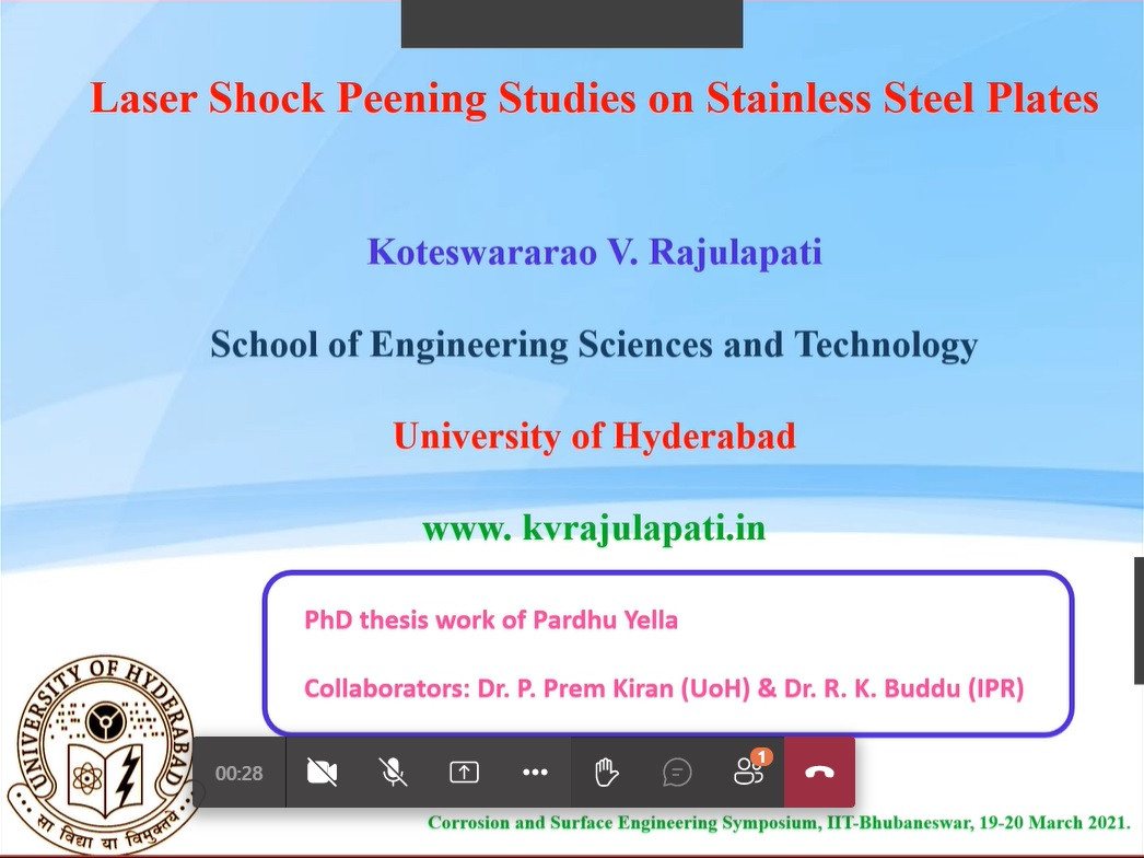 "Invited talk in the Corrosion and Surface Engineering Symposium"", IIT-Bhubaneswar, 19-20 March, 2021"