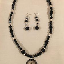 Black Onyx & Silver Necklace Set w/ Metal Medallion