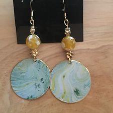 Patina Discs w/ Yellow Glass Beads