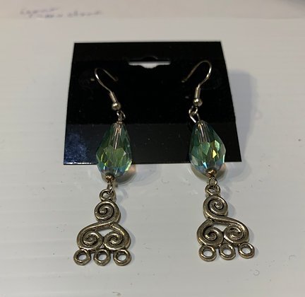 Bluish Green Crystal Teardrop Earring with Dangle