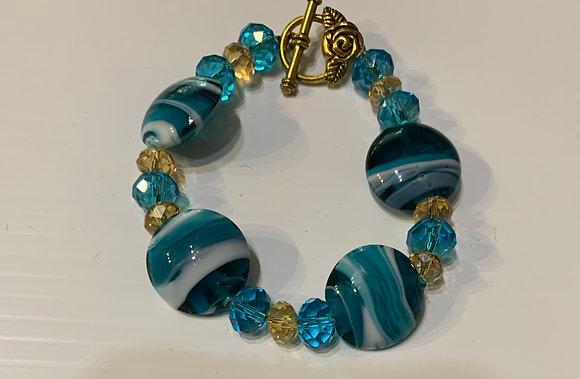 Ocean Ahoy - Turquoise Glass Bracelet