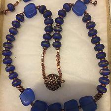 Copper & Square Blue Bead Necklace Set