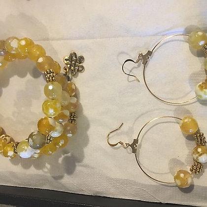 Gold Glass Wrap Bracelet & Hoop Earring Set