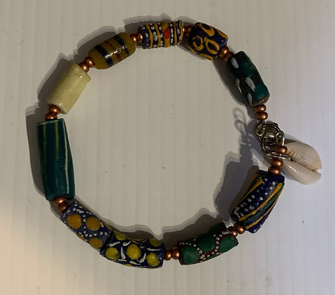 Large Size Wrist Ethnocentric Bracelet w/ Cowrie Dangle
