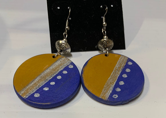 Blue and Gold Handpainted earrings with Pewter Bead