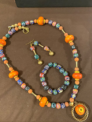 Afrocentric 3 piece Necklace Set with Sandcast beads and Cow bones