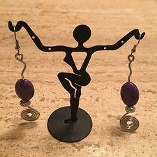 Handcrafted Silver Swirl Wire w/ Purple Jasper Bead