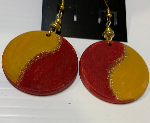 Handpainted Wood Earrings with Brass Beads