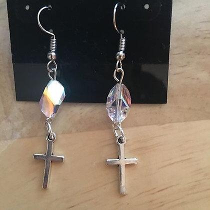 Dainty Crystal & Silver Cross Earrings