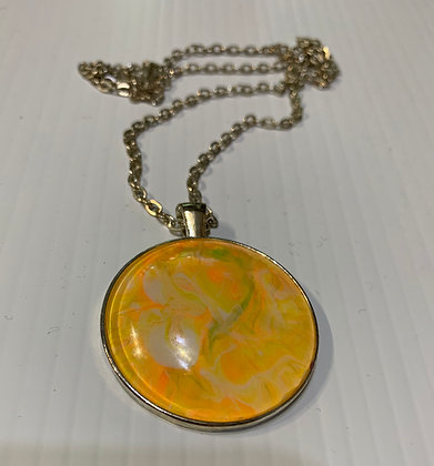 Wearable Art #2 - Acrylic pour encased in necklace with 22' chain