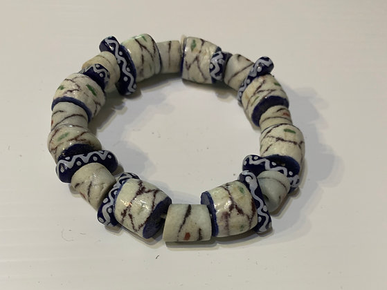 African Sandcast blue and white bracelet