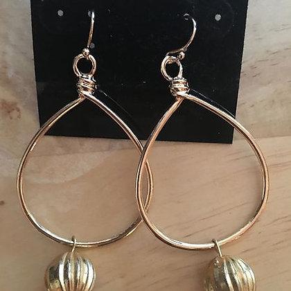 Goldtone Teardrop Hoop Pierced Earring w/ Hanging Ball