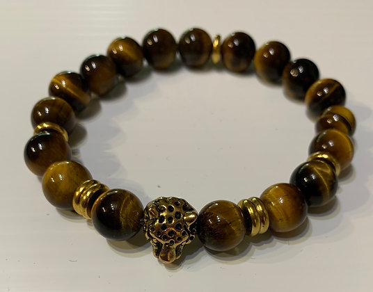 Tiger Eye  with Brass JaguarBead Bracelet