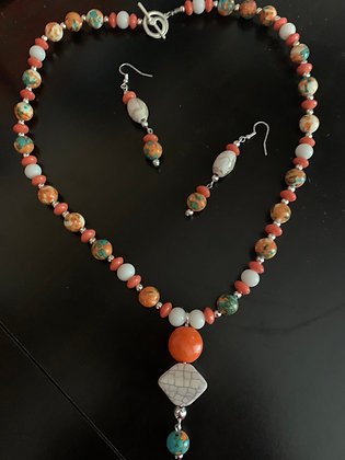 Orange and Teal Necklace Set