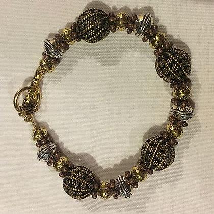 Brass Beaded Bracelet