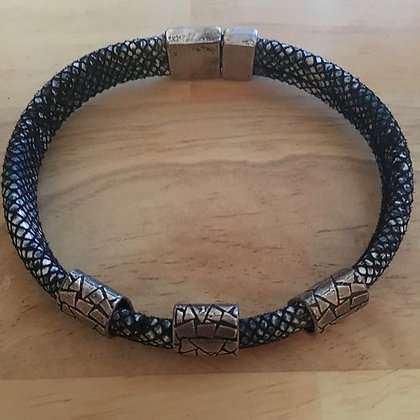 Denim Leather Bracelet w/ Magnetic Closure