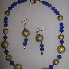 Royal Blue & Burnished Gold Necklace Set