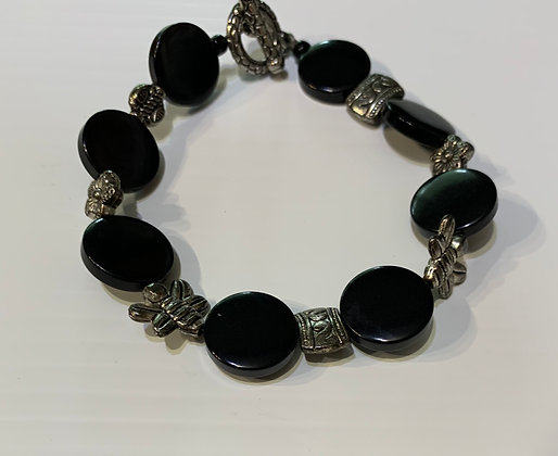 Black glass Bracelet with Pewter spacers