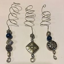 Set of Three Hair Adornments - Pewter Beads