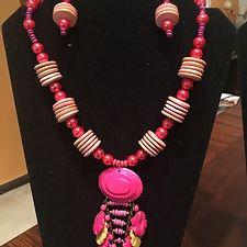 Pink & Purple Wood Necklace Set