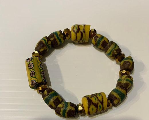 Ghana Sandcast Elasticized  Bracelet with copper beads