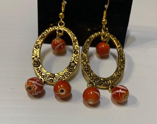 Brass Hoop Earrings with Orange Dangles