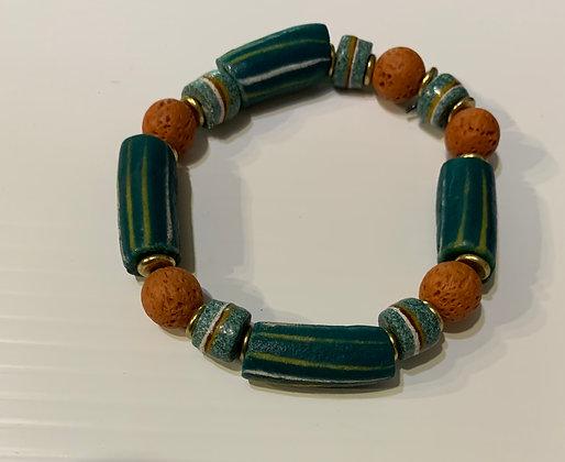 Ghana Teal Sandcast Elasticized  Bracelet with Lava beads